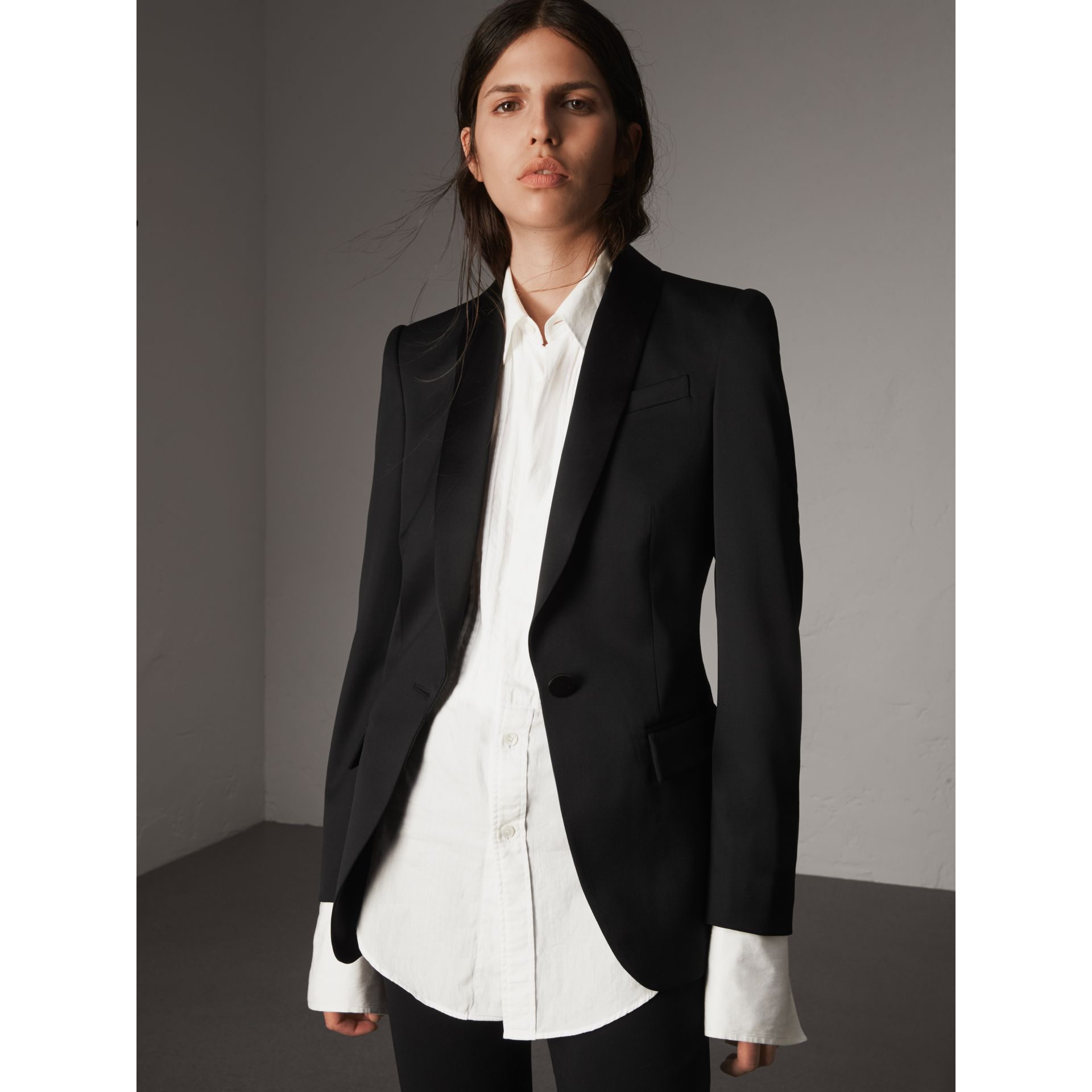 Stretch Wool Tuxedo Jacket in Black - Women | Burberry - gallery image 6