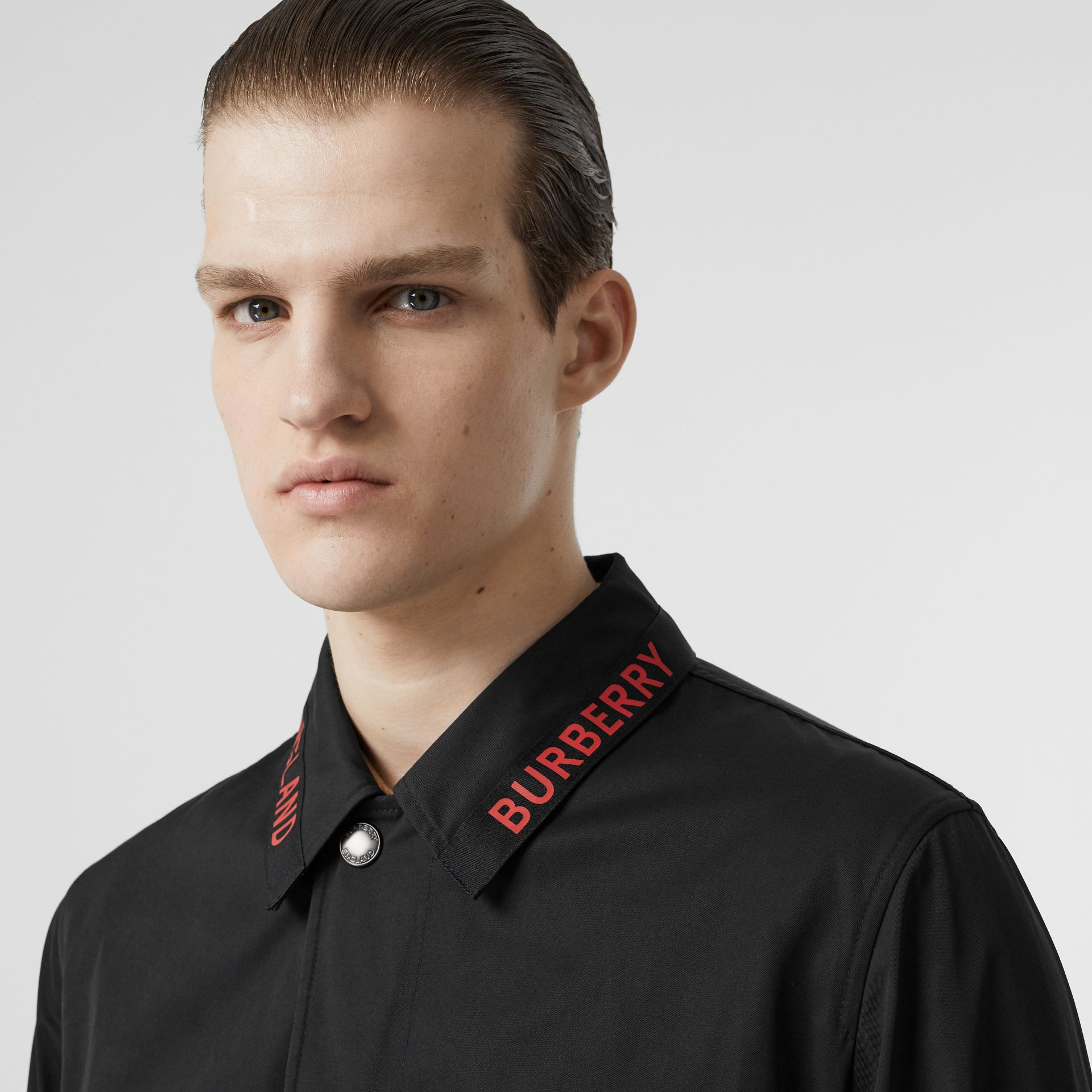 Logo Detail Technical Cotton Blend Car Coat in Black - Men | Burberry - gallery image 1
