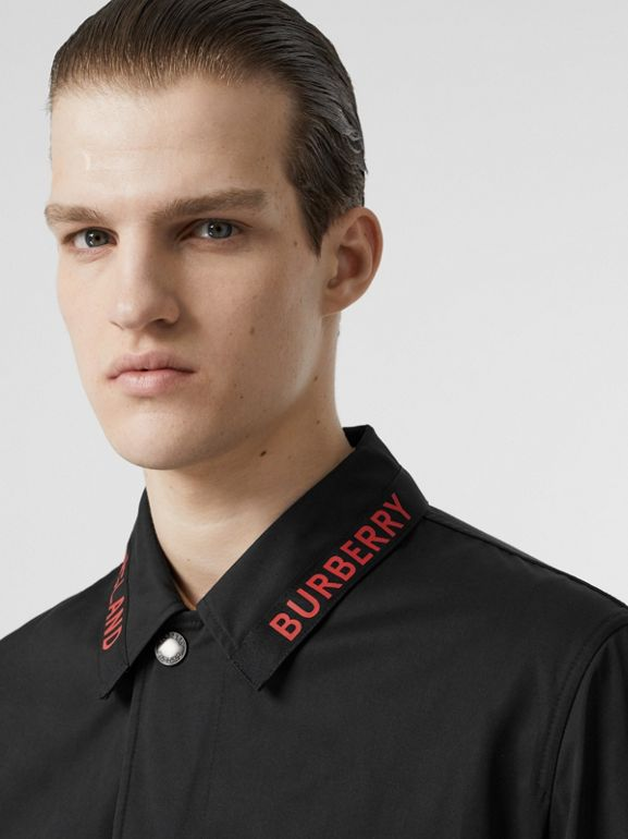 Logo Detail Technical Cotton Blend Car Coat in Black - Men | Burberry - cell image 1