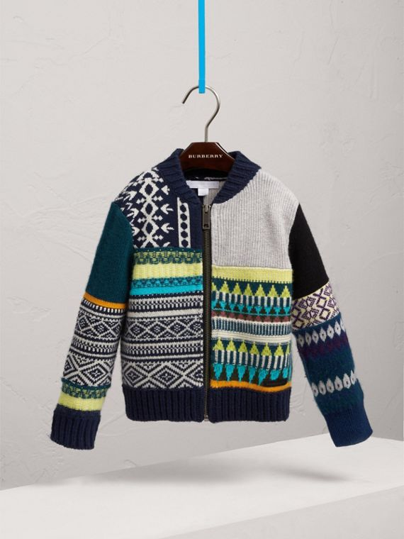 Fair Isle Wool Cashmere Patchwork Bomber Jacket in Navy - Boy | Burberry - cell image 2