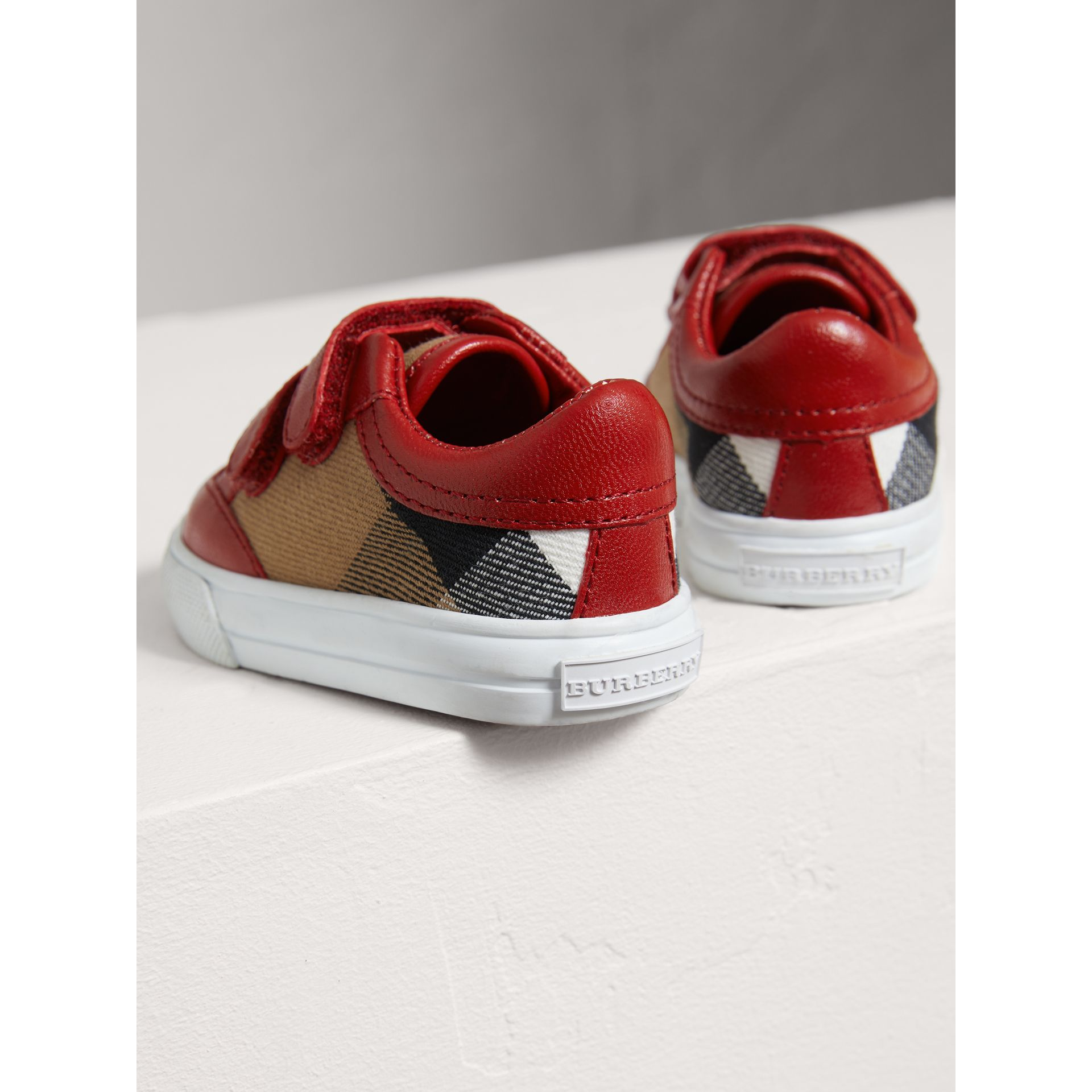 House Check and Leather Trainers in Parade Red | Burberry United Kingdom - gallery image 2