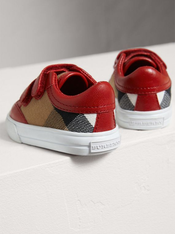House Check and Leather Trainers in Parade Red | Burberry United Kingdom - cell image 2
