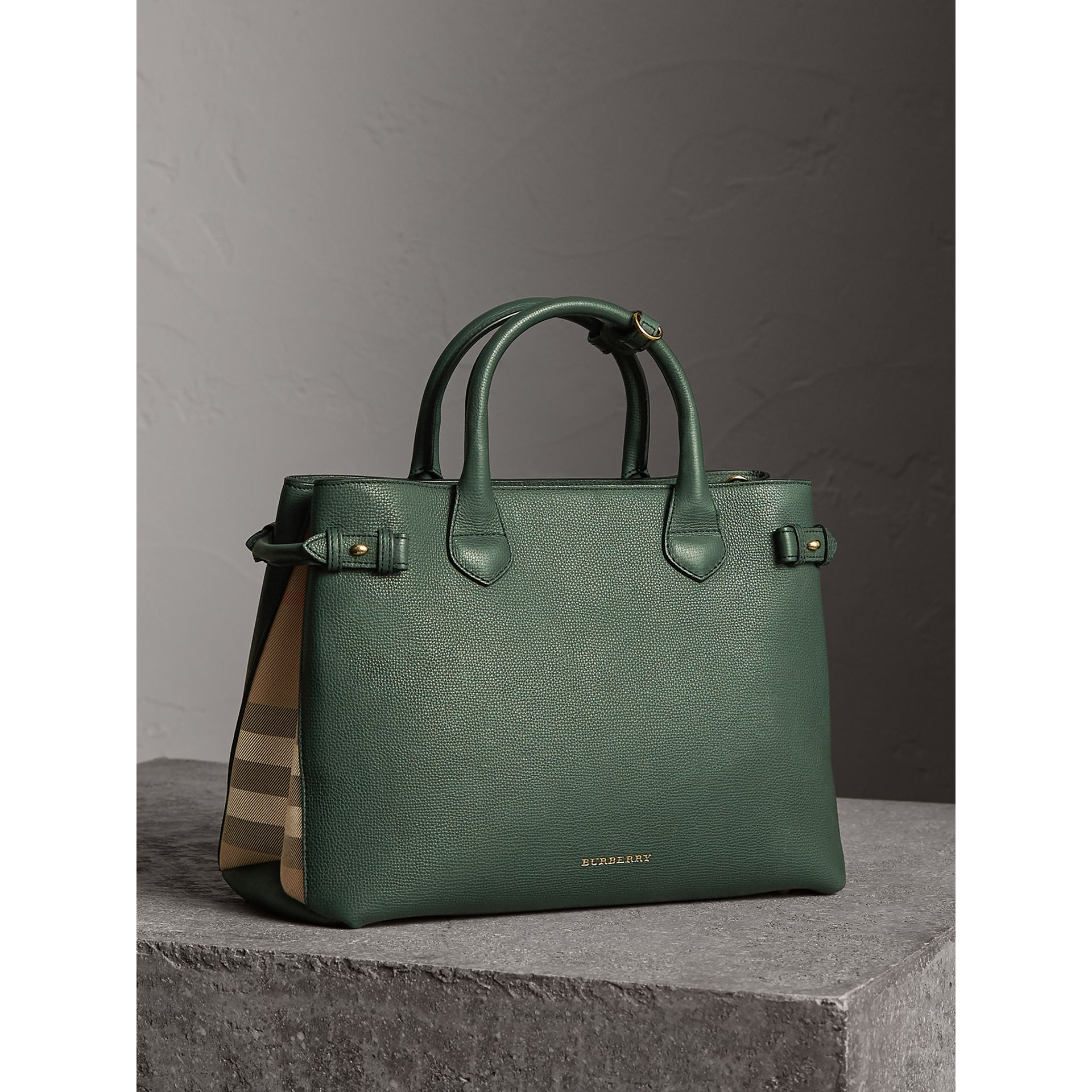 The Medium Banner in Leather and House Check in Dark Bottle Green - Women | Burberry United Kingdom - gallery image 1
