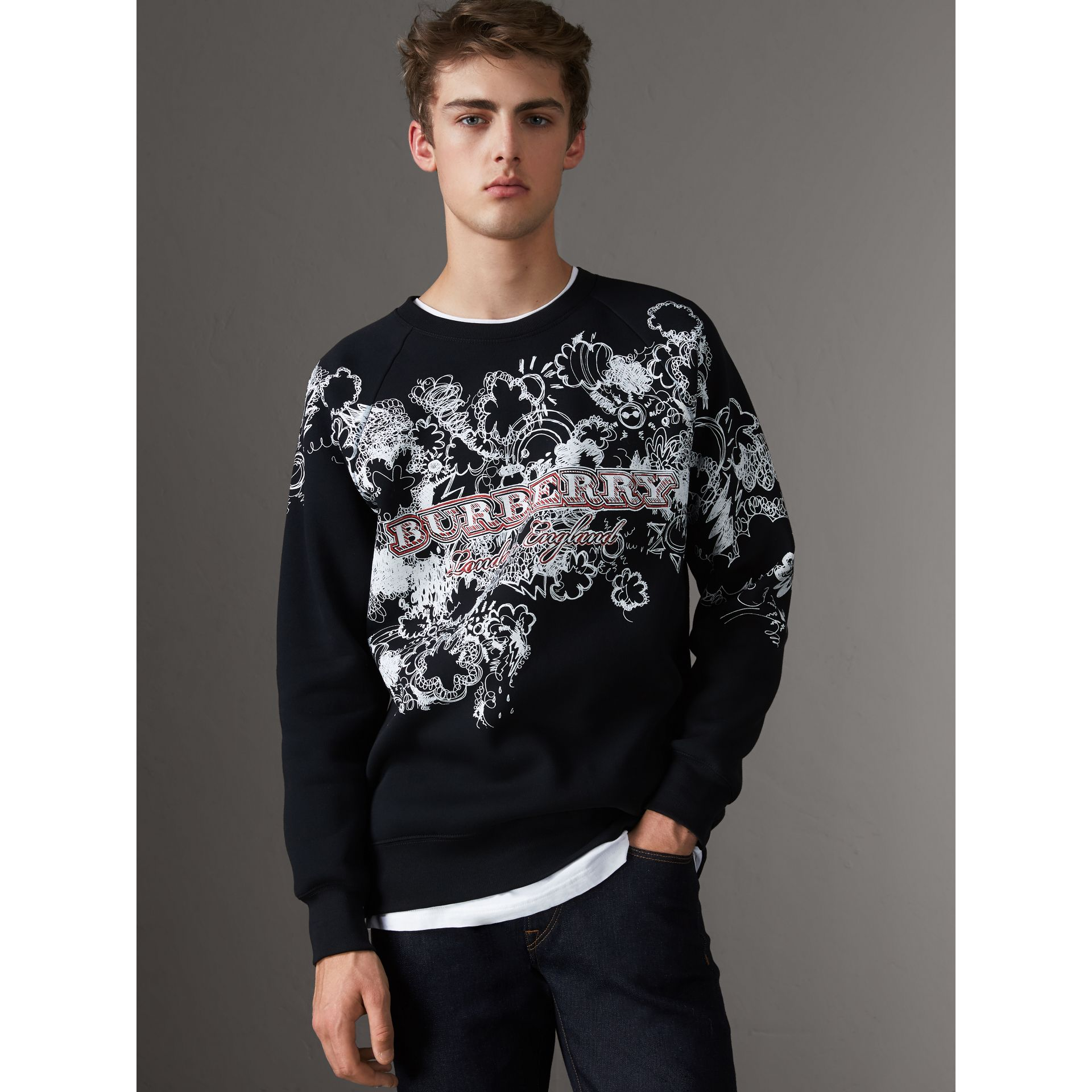 Doodle Print Jersey Sweatshirt in Black - Men | Burberry Singapore - gallery image 4