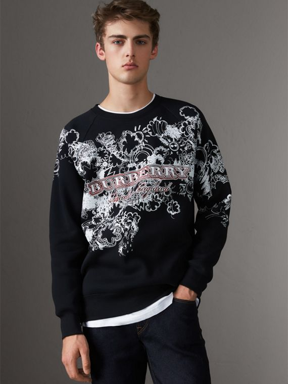 Doodle Print Jersey Sweatshirt in Black