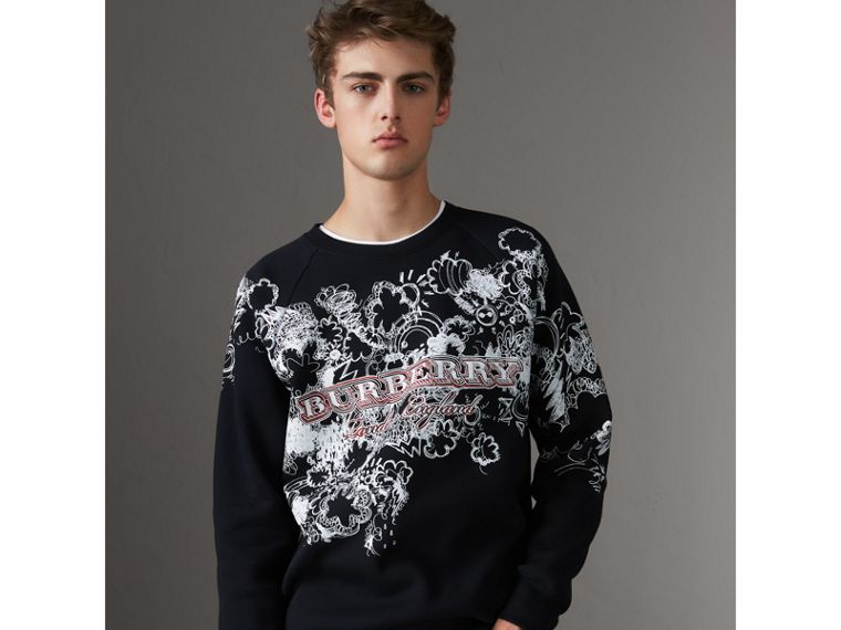 Doodle Print Jersey Sweatshirt in Black - Men | Burberry Singapore - cell image 4