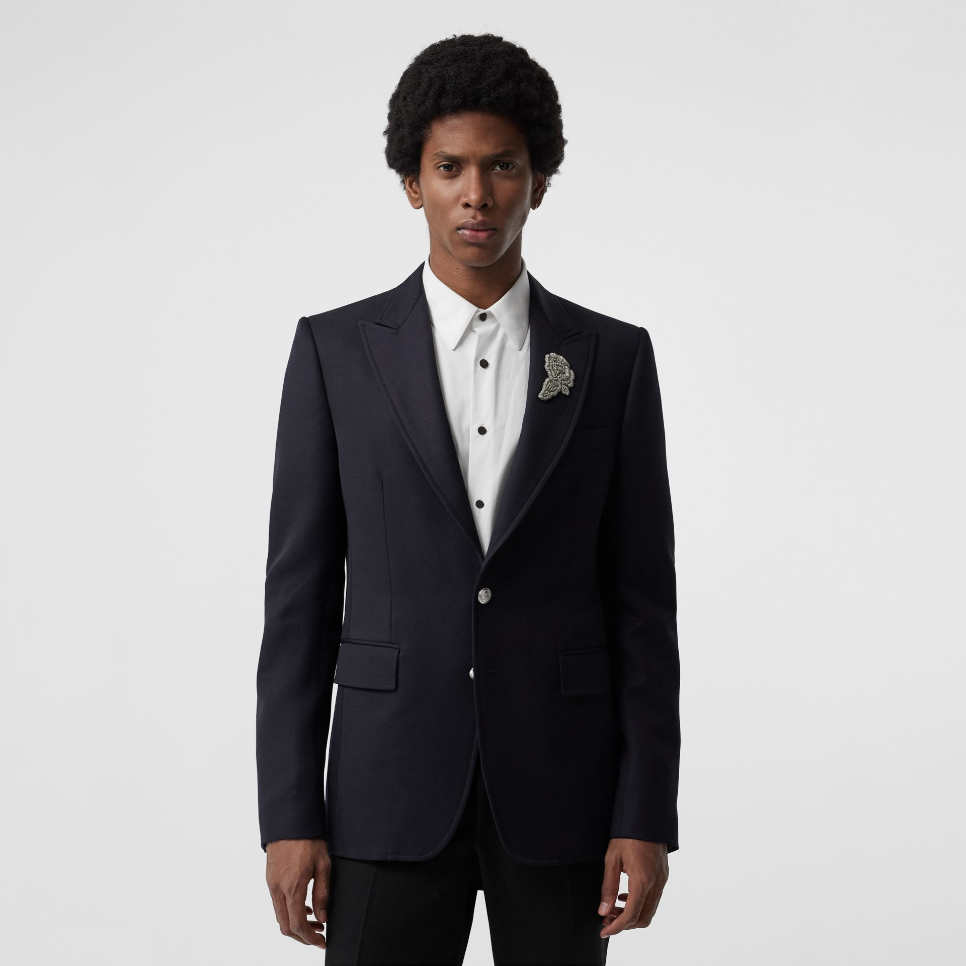 Slim Fit Bullion Floral Wool Gabardine Blazer in Black - Men | Burberry Singapore - gallery image 4
