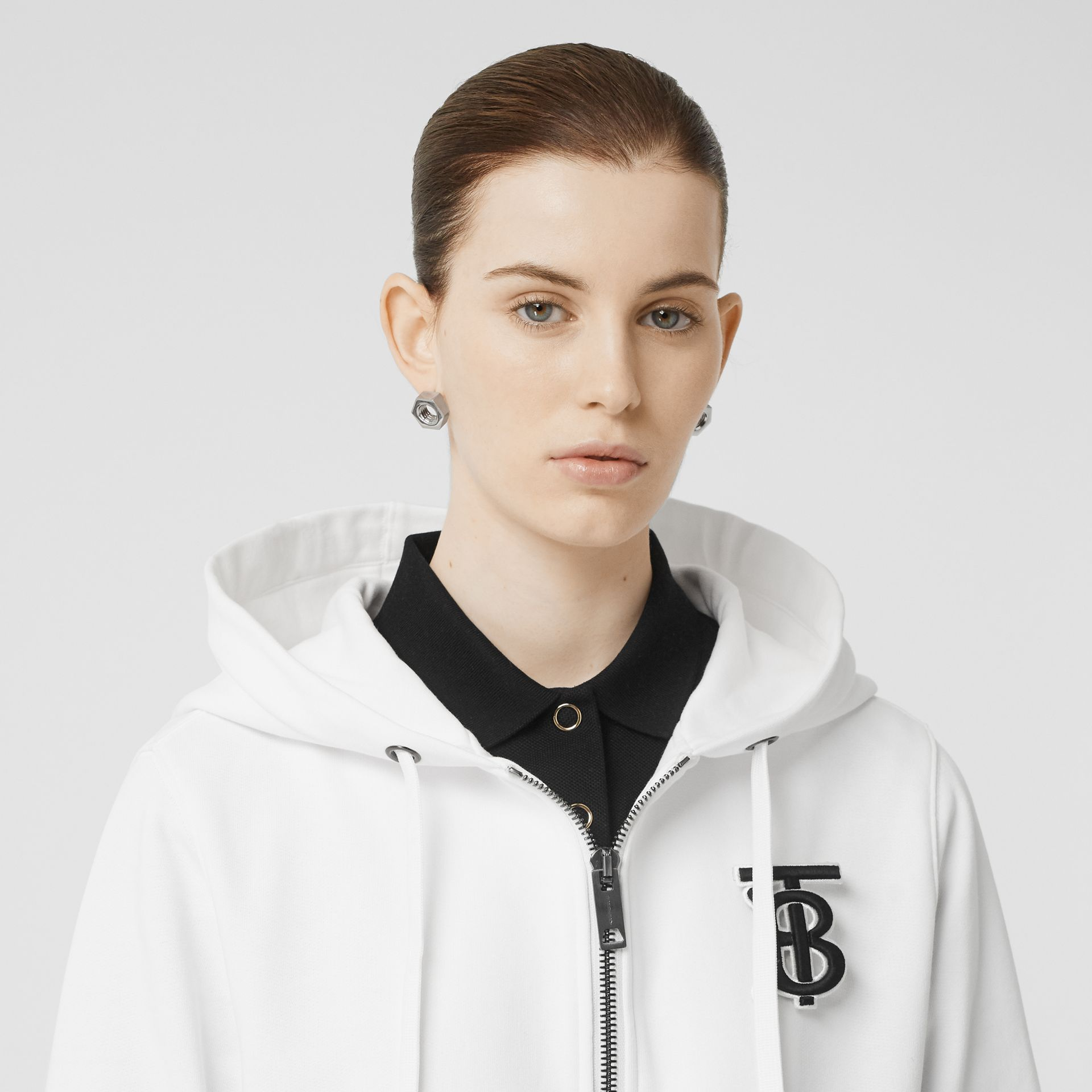 Monogram Motif Cotton Oversized Hooded Top in White - Women | Burberry - gallery image 1