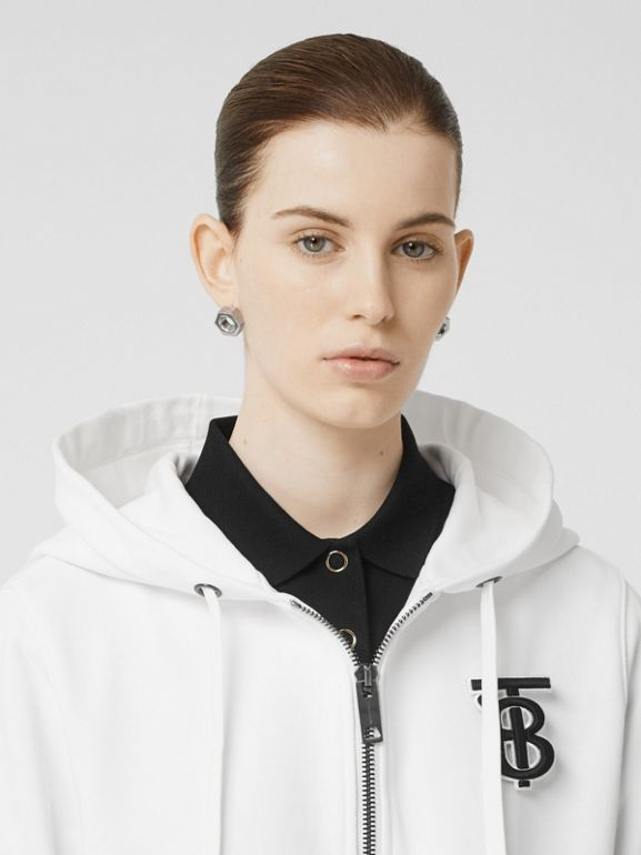 Monogram Motif Cotton Oversized Hooded Top in White - Women | Burberry - cell image 1