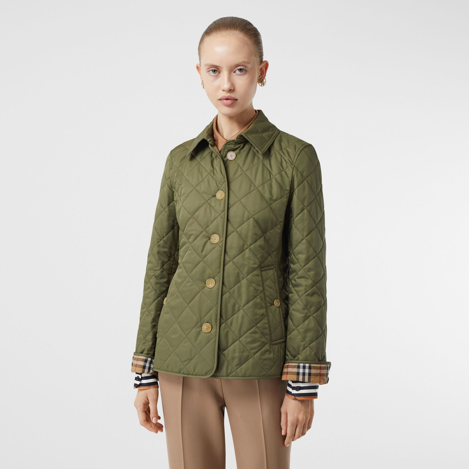 Diamond Quilted Jacket in Olive Green - Women | Burberry - gallery image 5