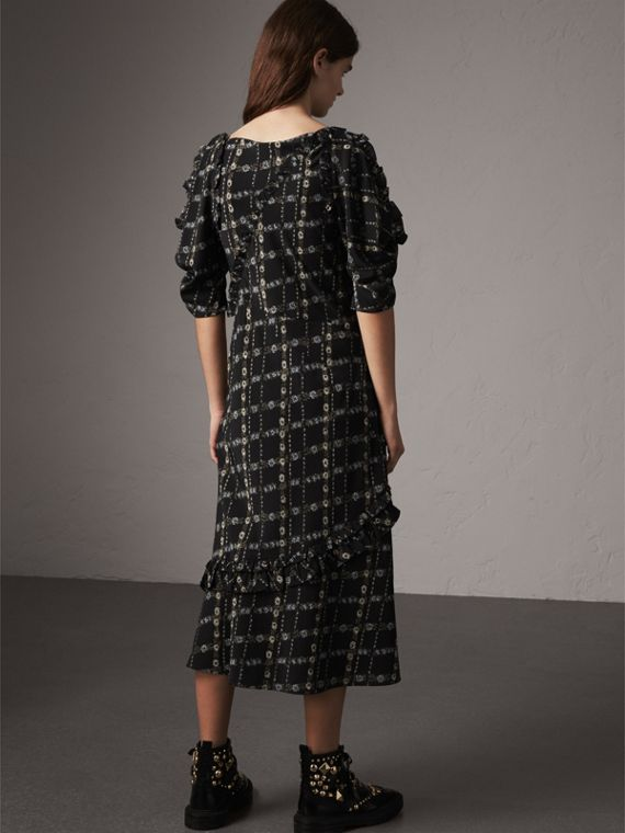 Ruffle Detail Floral Silk Dress in Black - Women | Burberry - cell image 2
