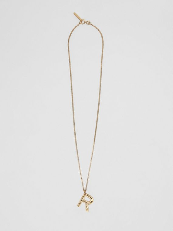 'R' Alphabet Charm Gold-plated Necklace in Light
