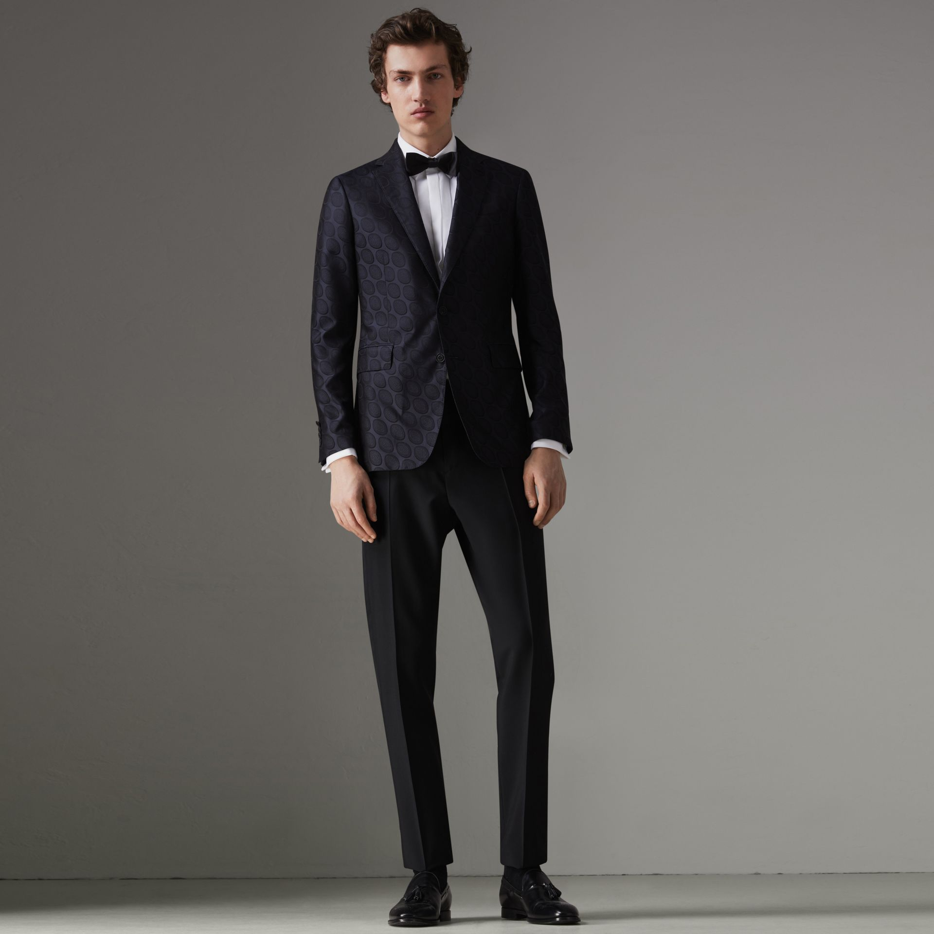 Soho Fit Spot Silk Evening Jacket in Midnight Blue - Men | Burberry Australia - gallery image 0