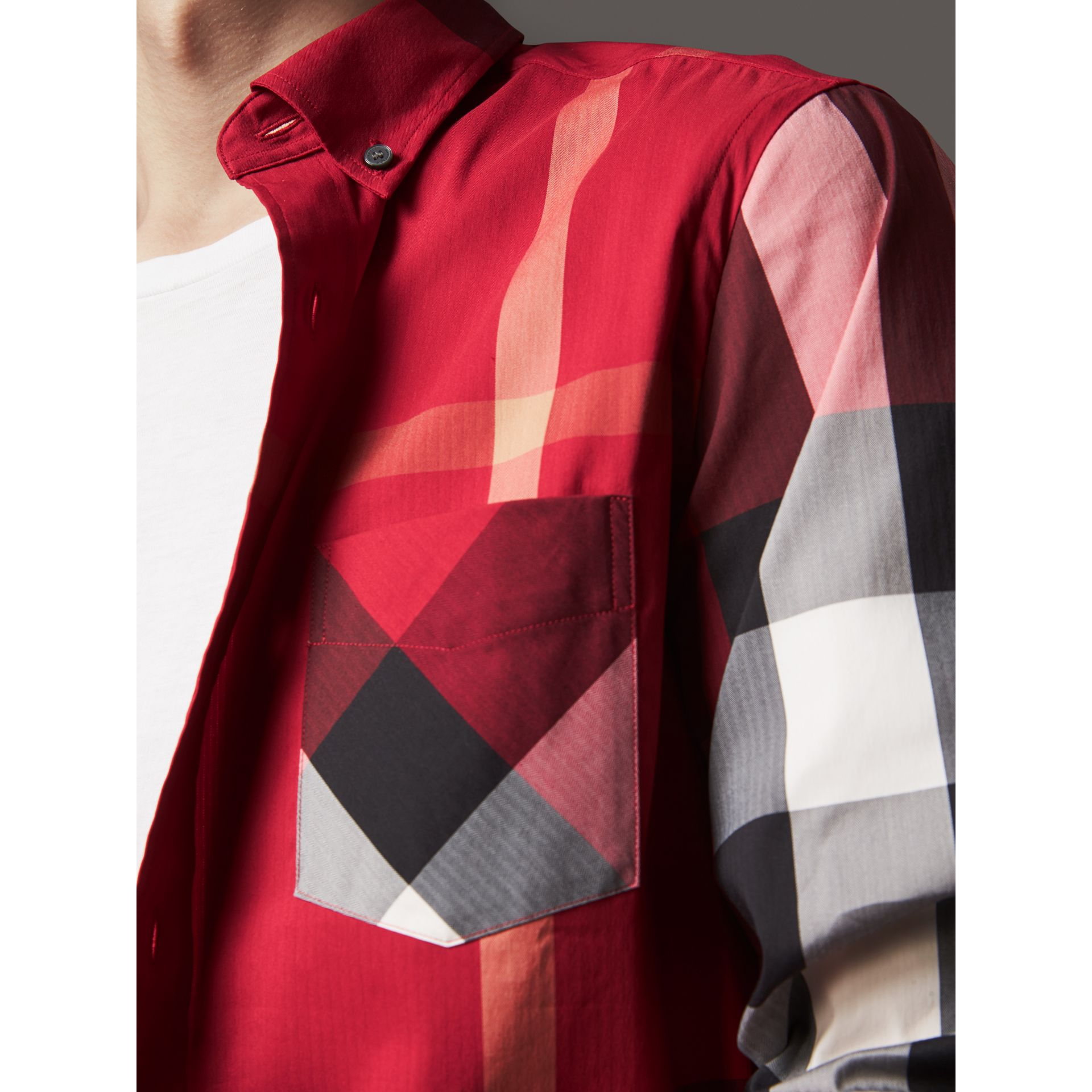 Button-down Collar Check Stretch Cotton Blend Shirt in Parade Red - Men | Burberry United Kingdom - gallery image 2