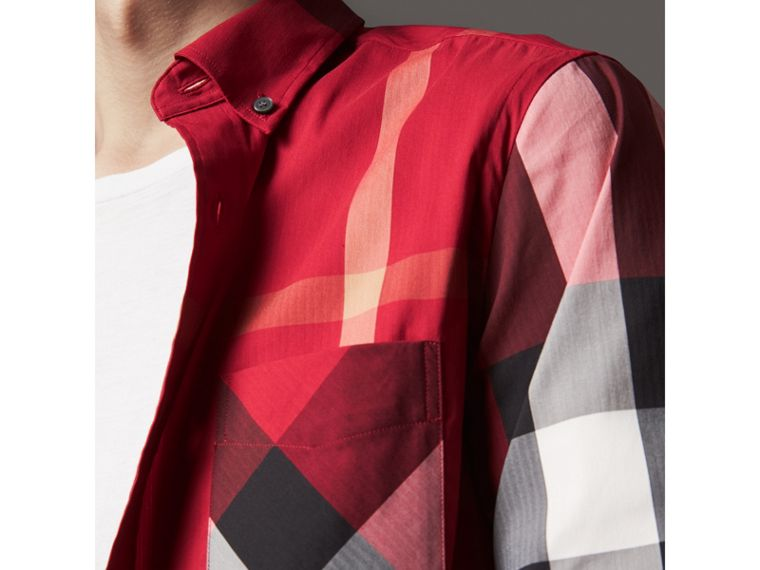 Button-down Collar Check Stretch Cotton Blend Shirt in Parade Red - Men | Burberry United Kingdom - cell image 1