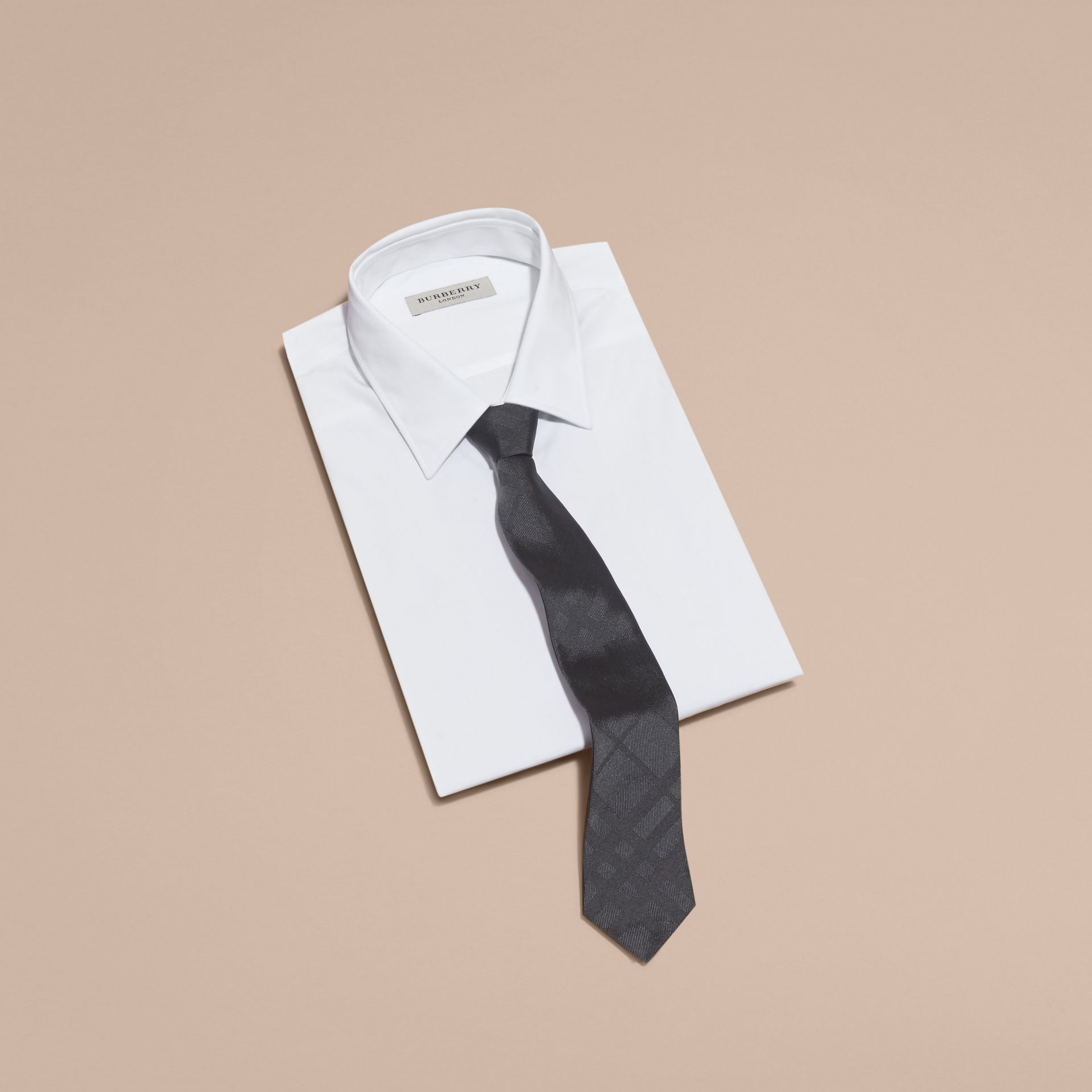 Slim Cut Check Silk Tie in Charcoal - Men | Burberry - gallery image 4