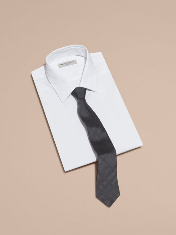 Slim Cut Check Silk Tie in Charcoal - cell image 3