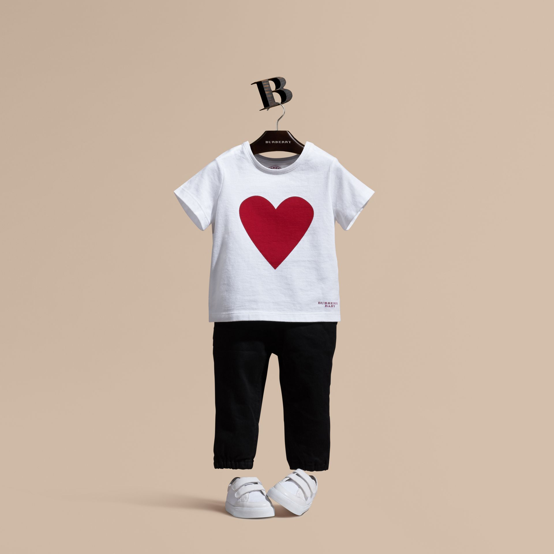 White Heart Print Cotton T-shirt White - gallery image 1