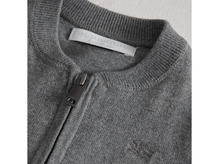 Check Detail Cotton Cardigan in Mid Grey Melange - Boy | Burberry - cell image 1