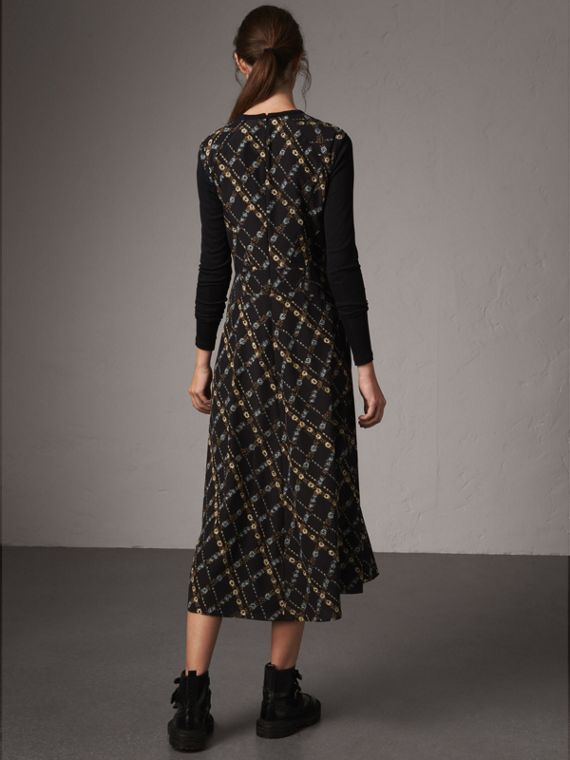 Long-sleeve Lattice Floral Print Silk Gathered Dress in Black - Women | Burberry - cell image 2
