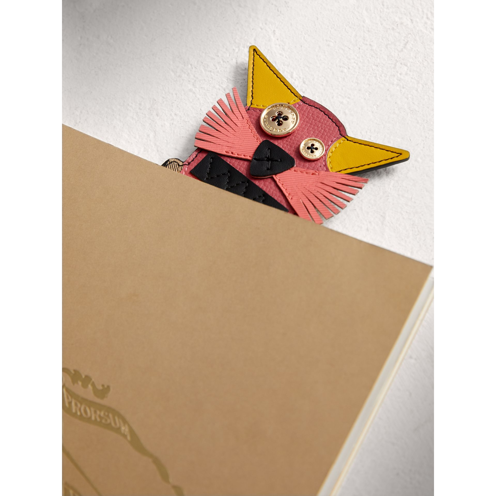 Rufus The Cat Leather and Haymarket Check Bookmark in Black | Burberry United Kingdom - gallery image 1