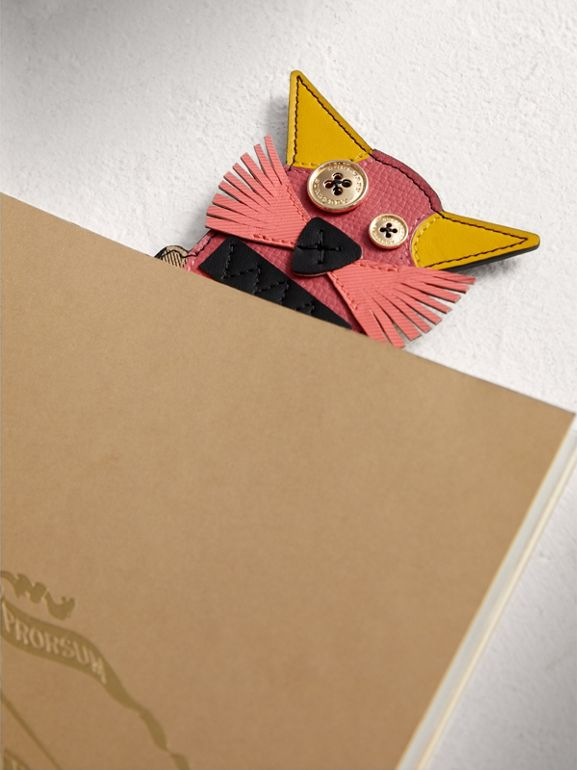 Rufus The Cat Leather and Haymarket Check Bookmark in Black | Burberry United Kingdom - cell image 1
