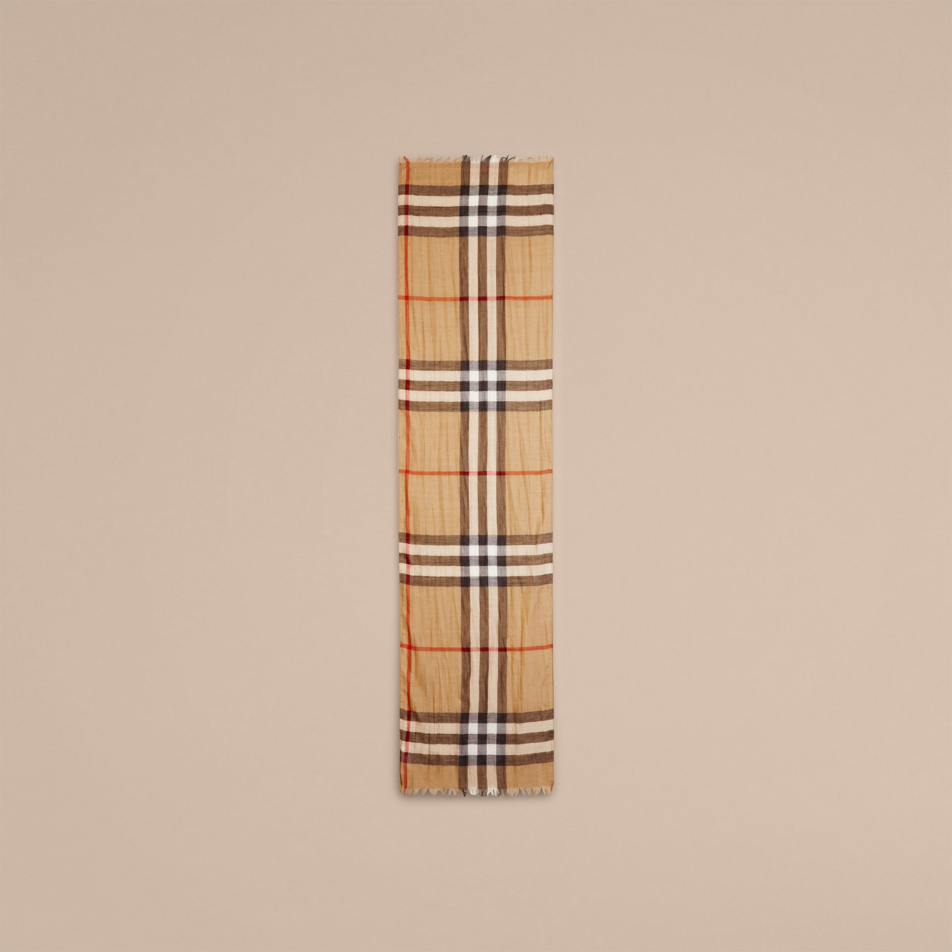 Exploded Check Wool Silk Scarf Camel - gallery image 3