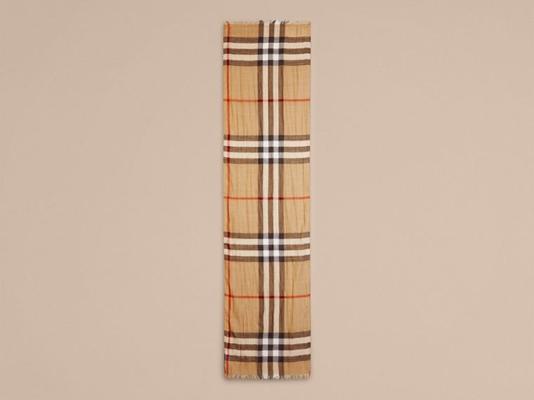 Exploded Check Wool Silk Scarf in Camel | Burberry - cell image 2