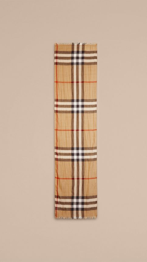 Camel check Exploded Check Wool Silk Scarf - Image 3