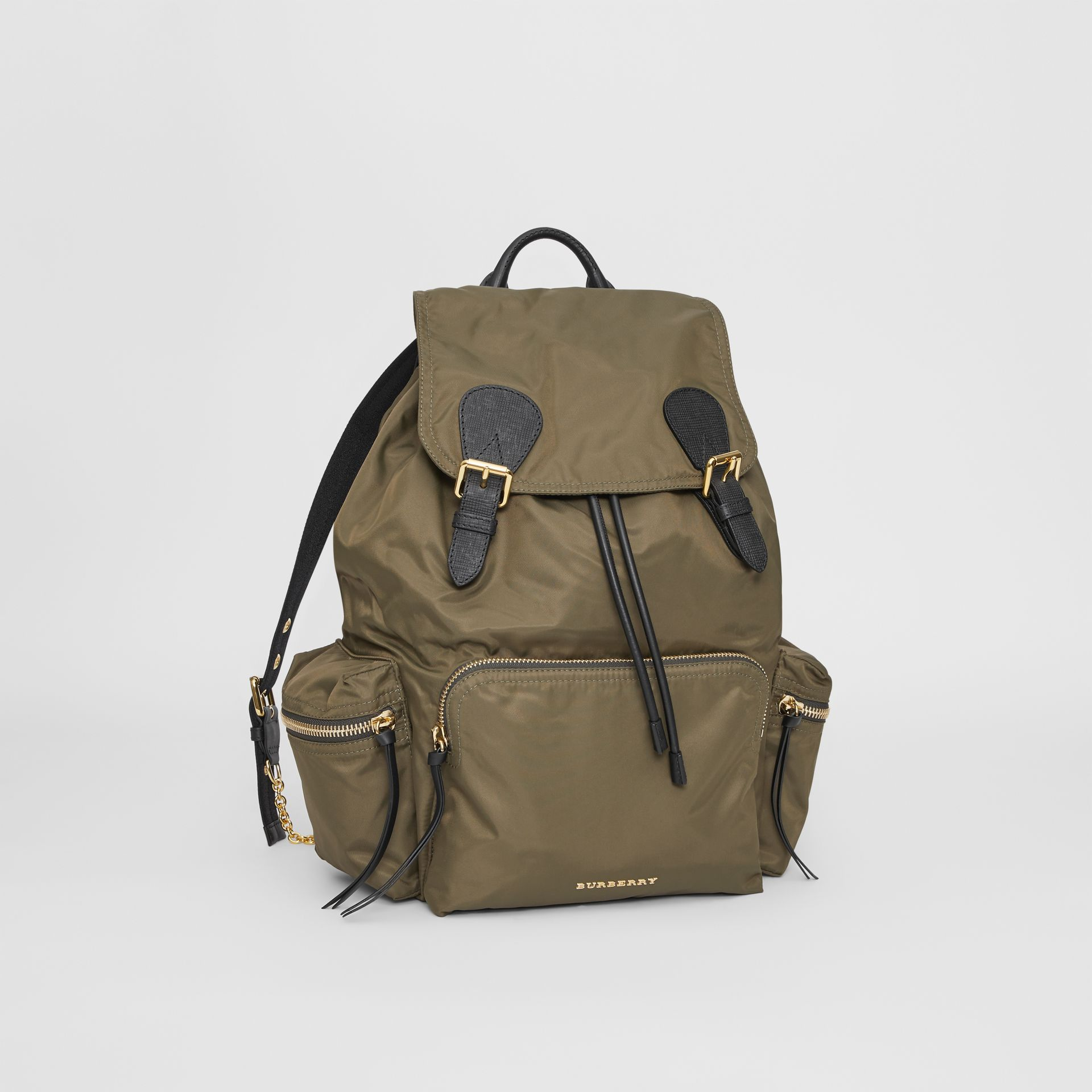 The Large Rucksack in Technical Nylon and Leather in Canvas Green - Women | Burberry United Kingdom - gallery image 4