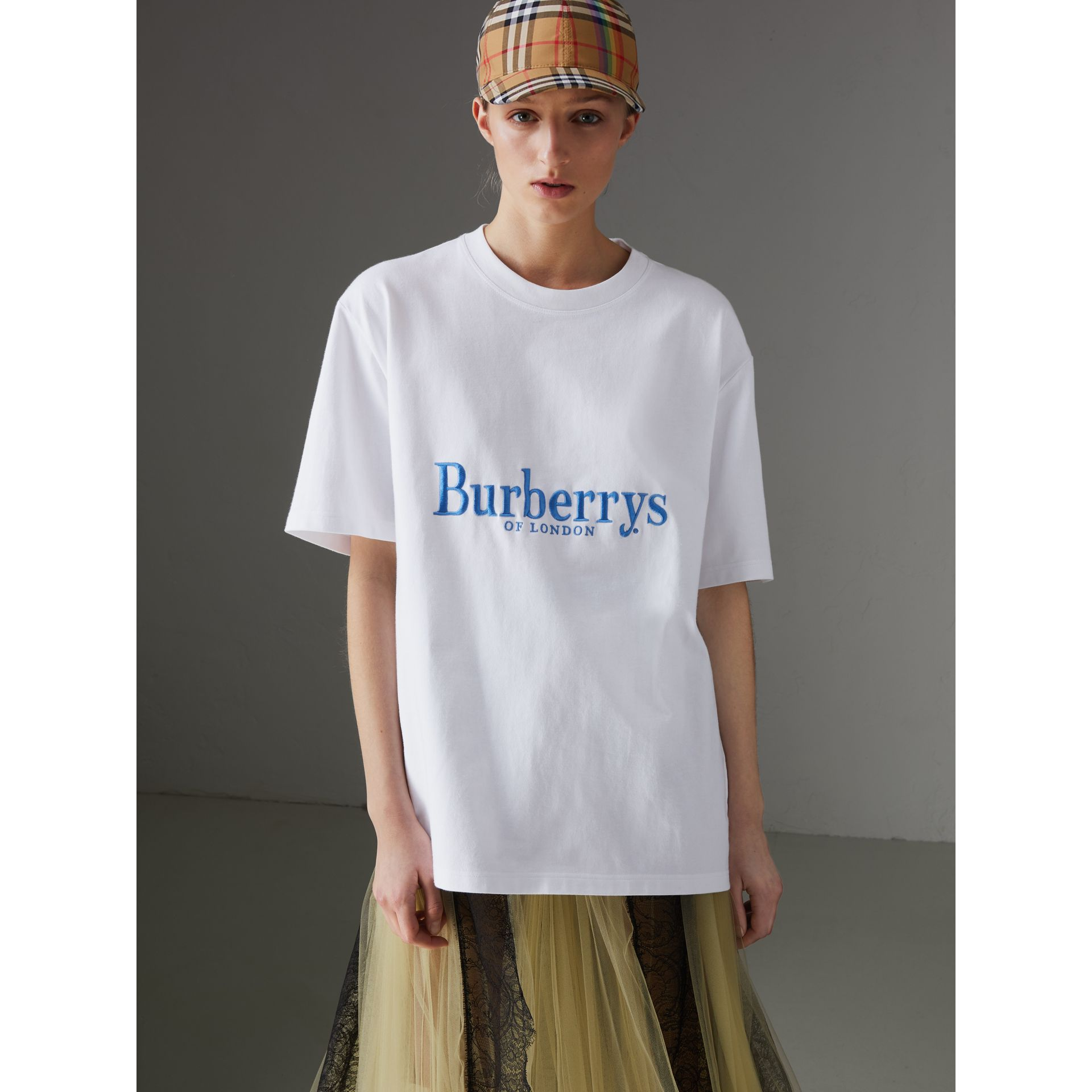 Reissued Cotton T-shirt in White - Women | Burberry - gallery image 5