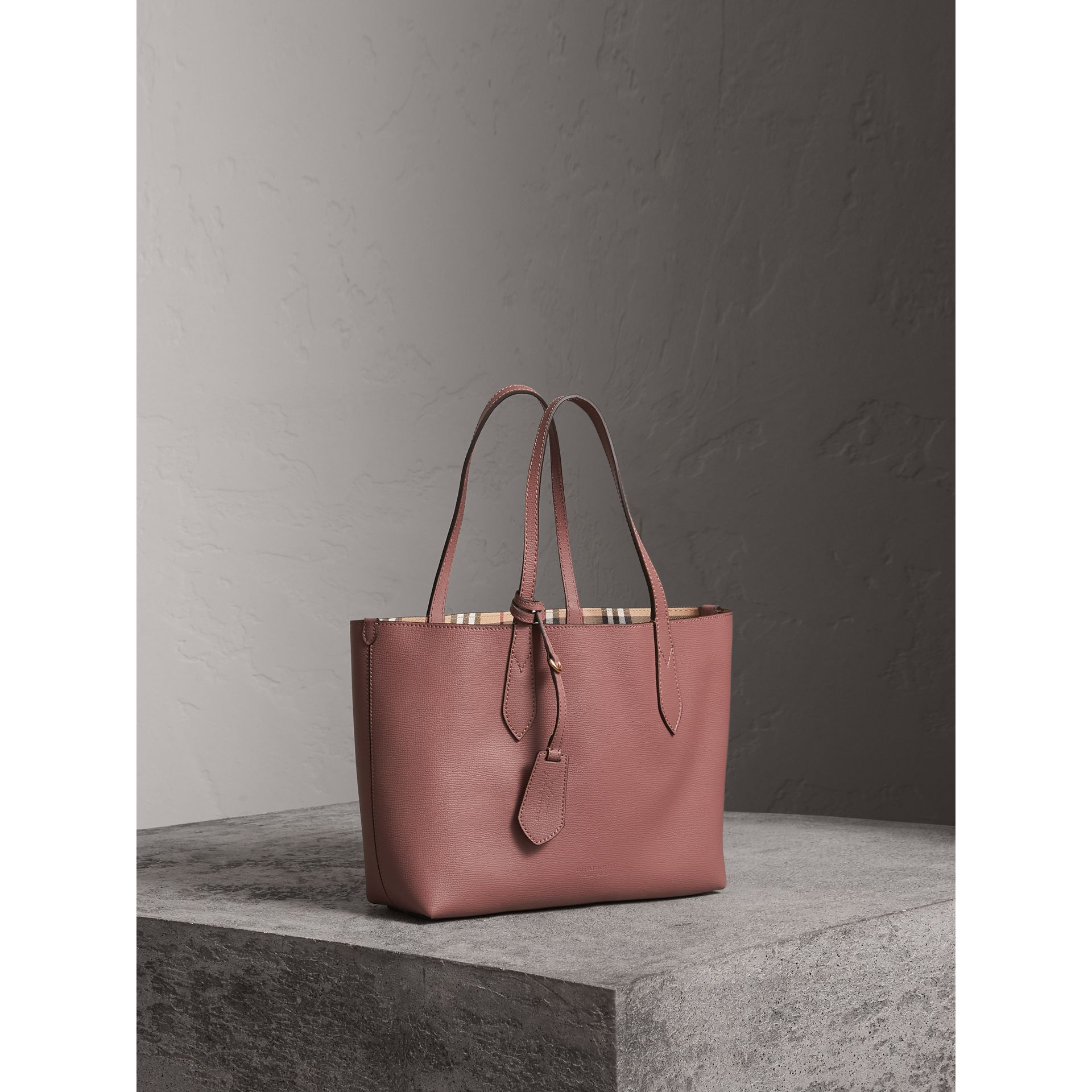 The Small Reversible Tote in Haymarket Check and Leather in Light Elderberry - Women | Burberry United Kingdom - gallery image 6