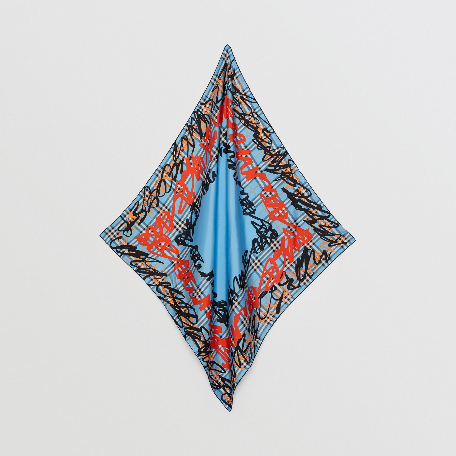 Lenço xadrez de seda com estampa de rabiscos (Azure Claro) | Burberry - galeria de imagens 3