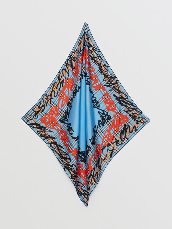 Lenço xadrez de seda com estampa de rabiscos (Azure Claro) | Burberry - cell image 3
