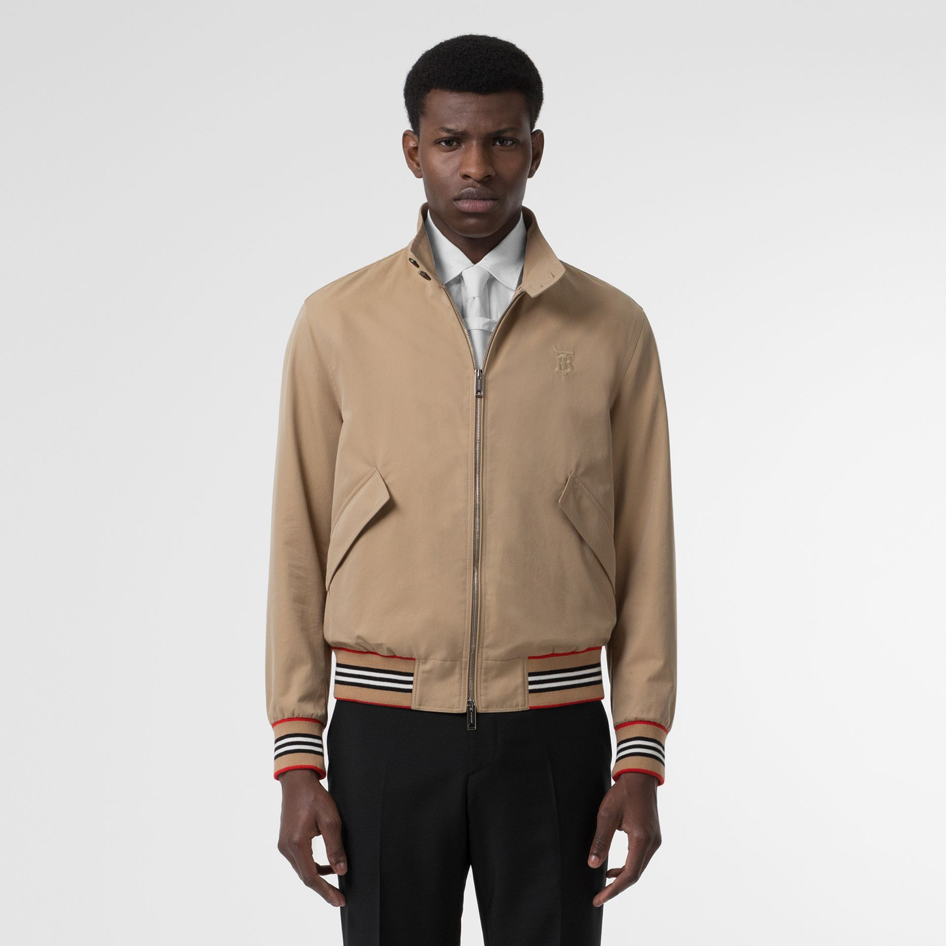 Icon Stripe Detail Cotton Gabardine Harrington Jacket in Honey - Men | Burberry United Kingdom - gallery image 6