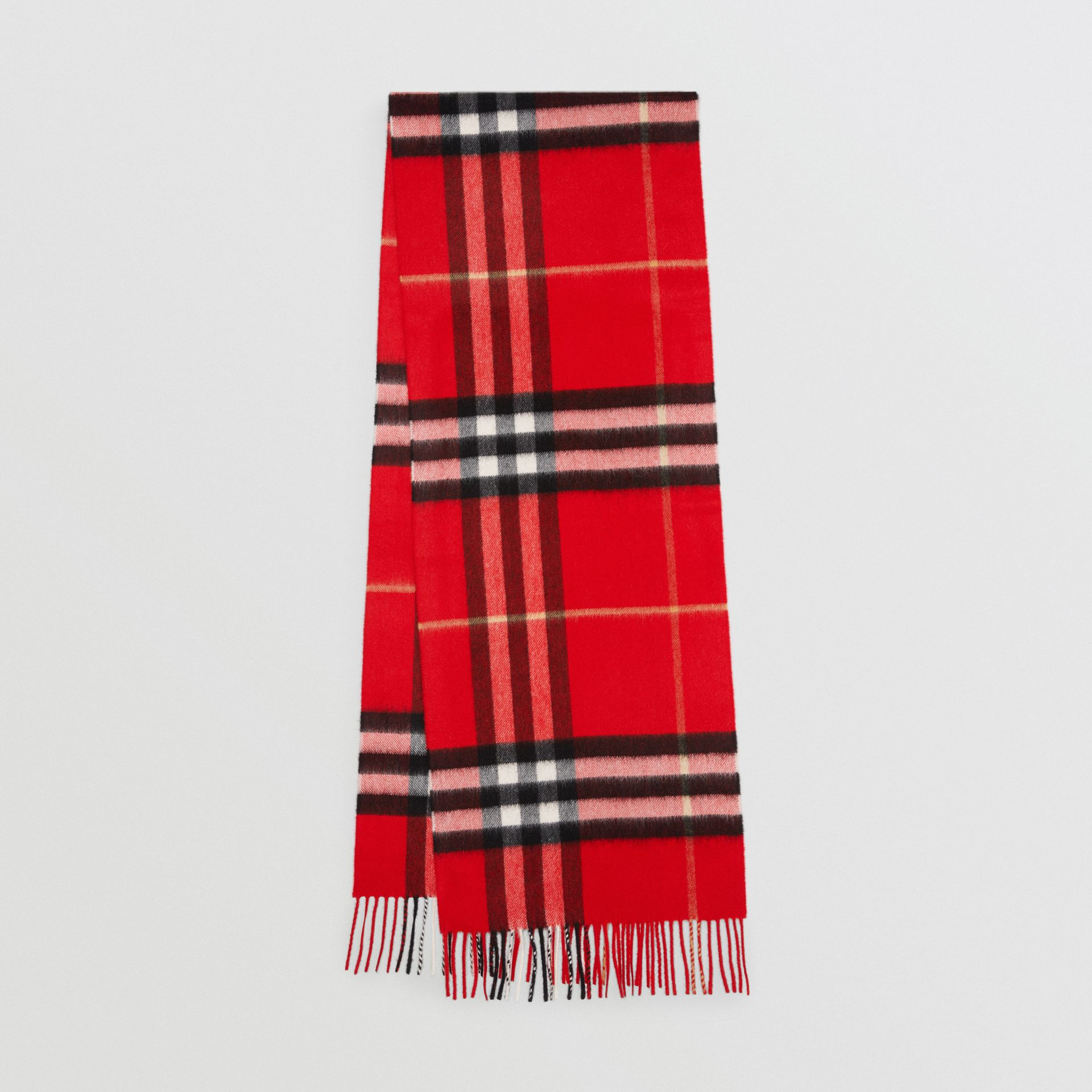 The Classic Check Cashmere Scarf in Bright Military Red | Burberry United Kingdom - gallery image 0