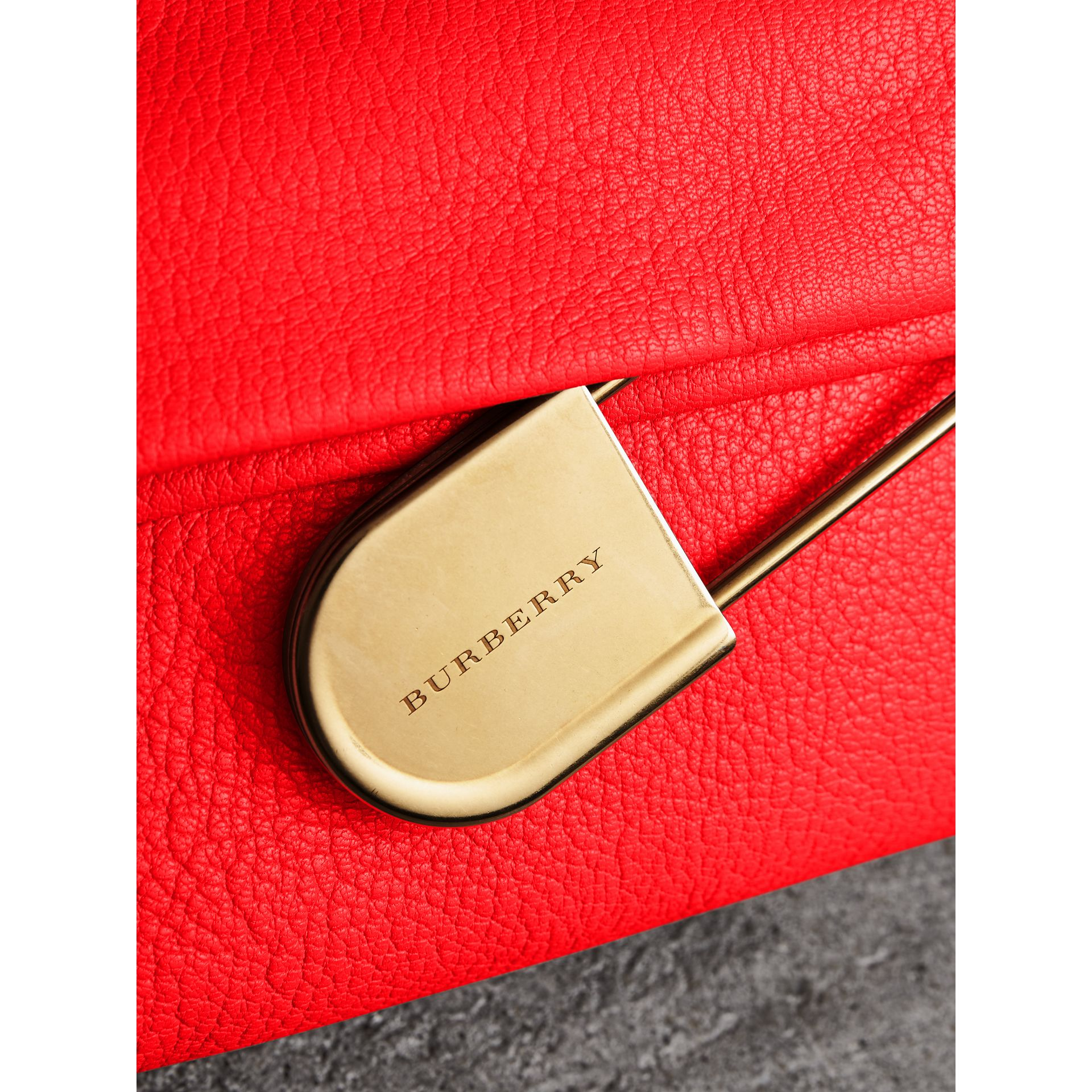 The Medium Pin Clutch in Leather in Bright Red - Women | Burberry United Kingdom - gallery image 1
