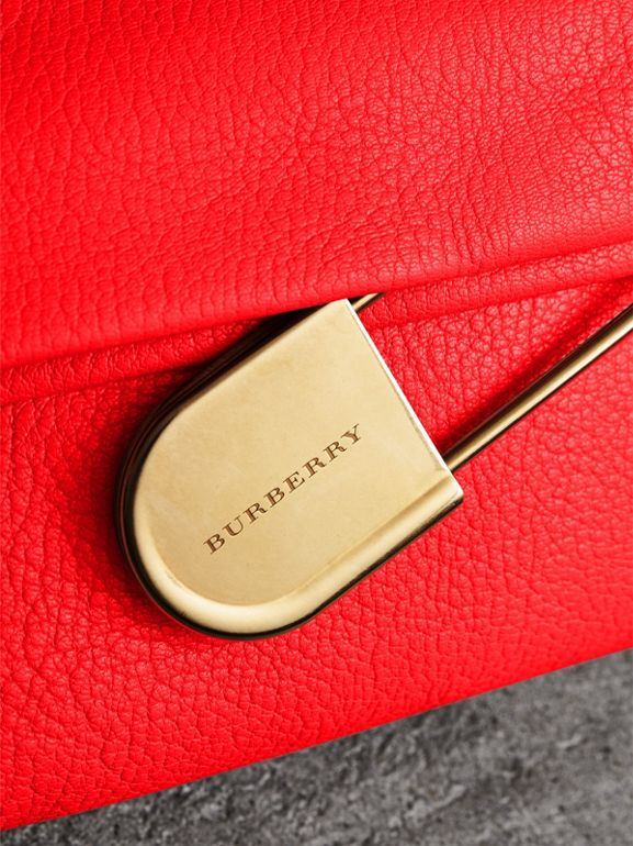 The Medium Pin Clutch in Leather in Bright Red - Women | Burberry - cell image 1