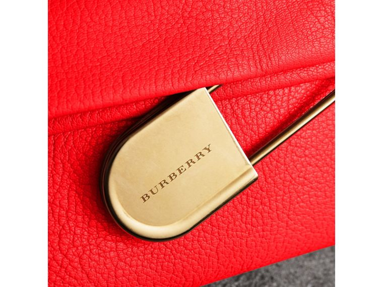 The Medium Pin Clutch in Leather in Bright Red - Women | Burberry United Kingdom - cell image 1