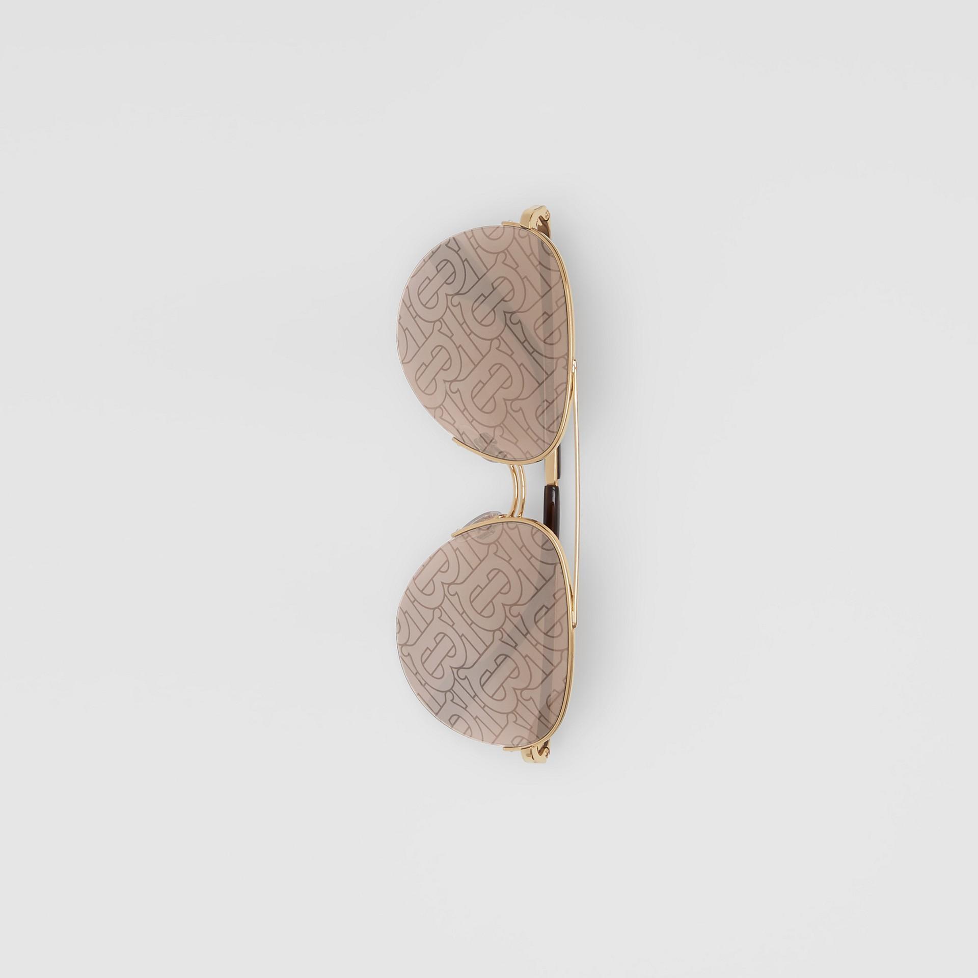 Monogram Print Detail Pilot Sunglasses in Dark Brown - Women | Burberry Canada - gallery image 2