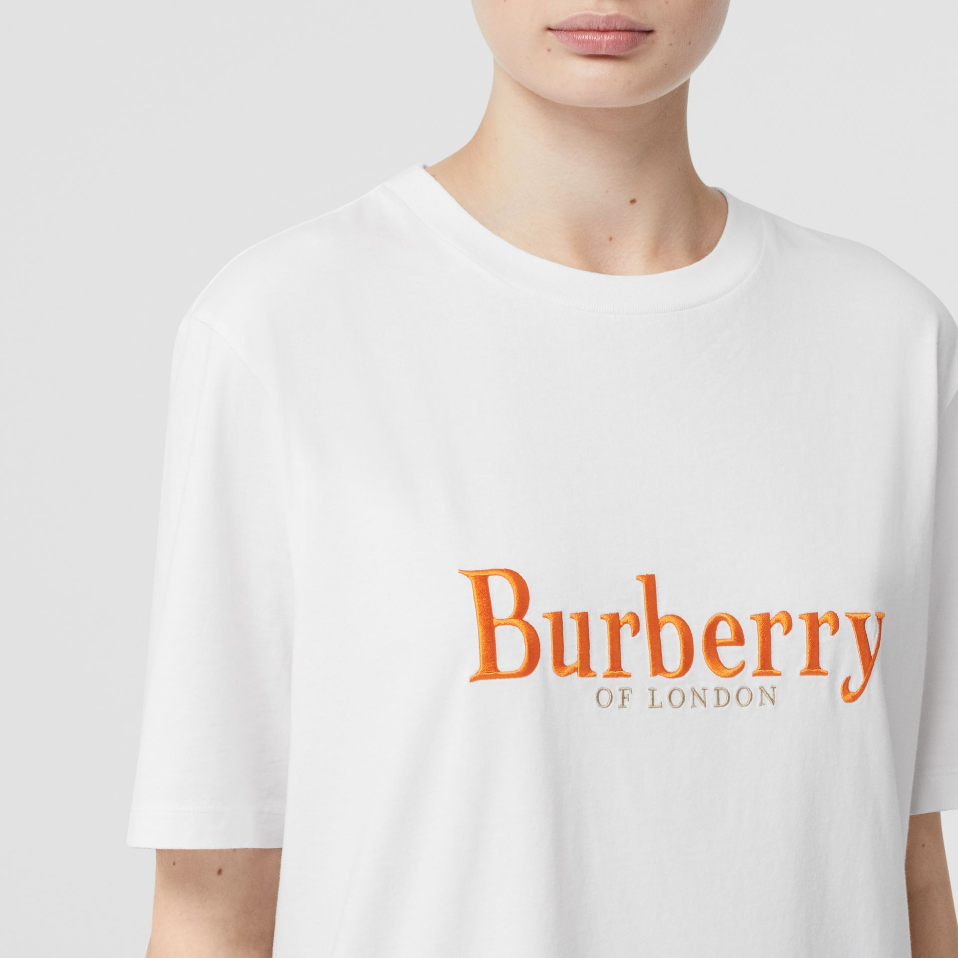 Embroidered Archive Logo Cotton T-shirt in White - Women | Burberry Hong Kong S.A.R - gallery image 1