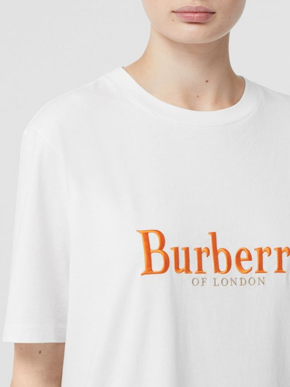 Embroidered Archive Logo Cotton T-shirt in White - Women | Burberry Hong Kong S.A.R - cell image 1