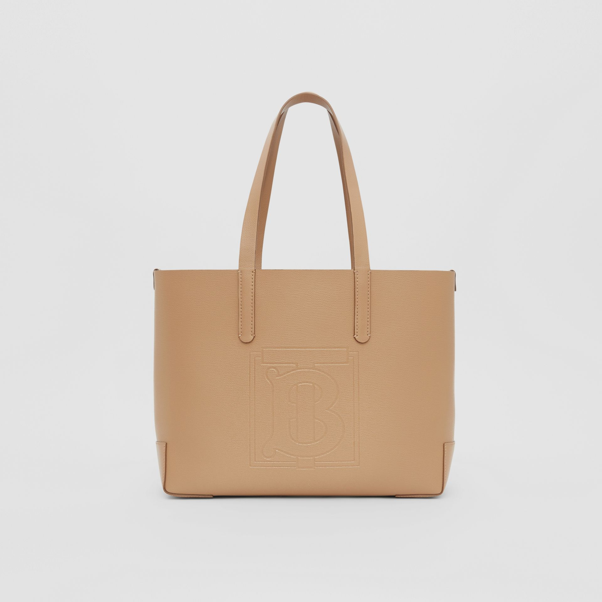 Embossed Monogram Motif Leather Tote in Camel - Women | Burberry Canada - gallery image 0