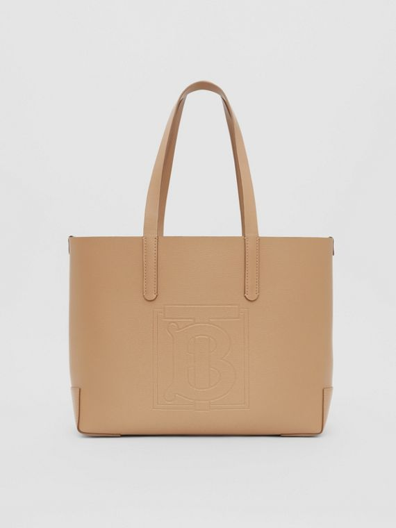 Embossed Monogram Motif Leather Tote in Camel