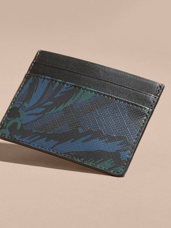 Floral Print London Check Card Case Navy - cell image 3