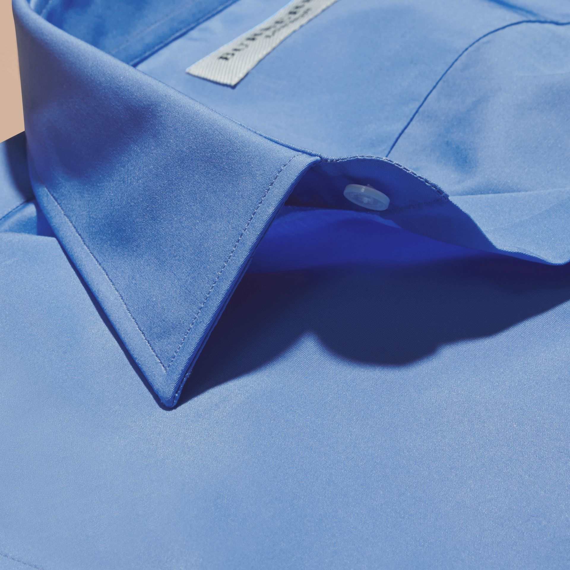 Slim Fit Cotton Poplin Shirt in Mid Blue - gallery image 2