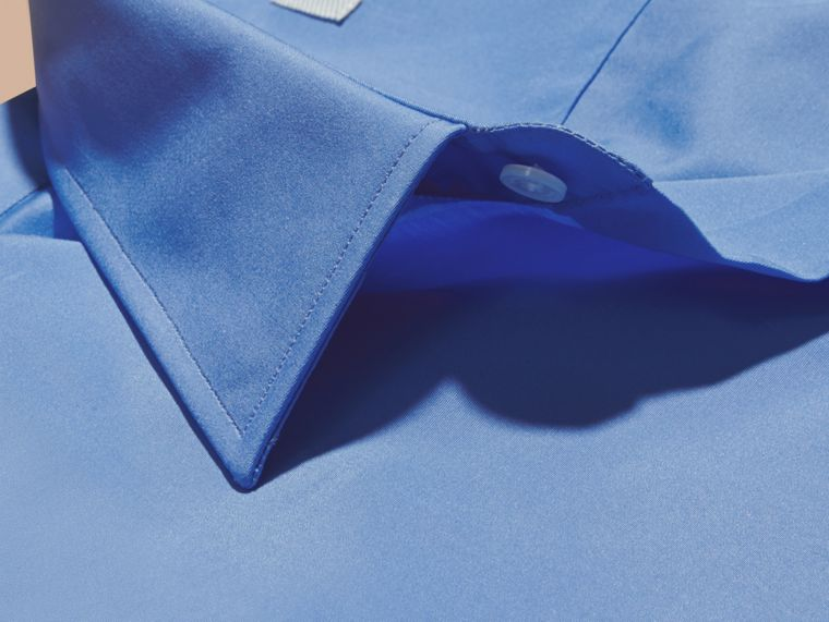 Slim Fit Cotton Poplin Shirt in Mid Blue - cell image 1