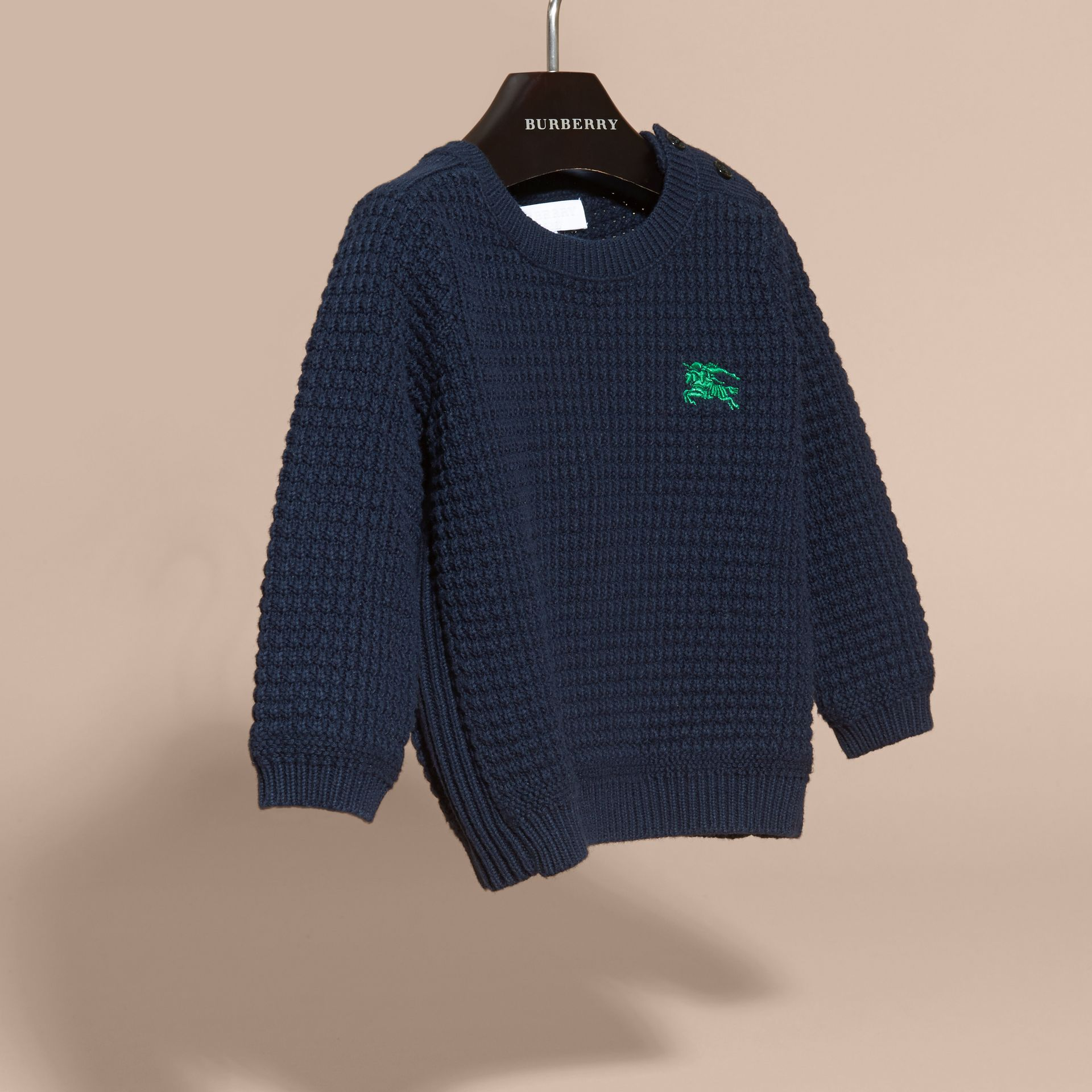 Waffle Knit Cotton Sweater in Navy | Burberry - gallery image 2