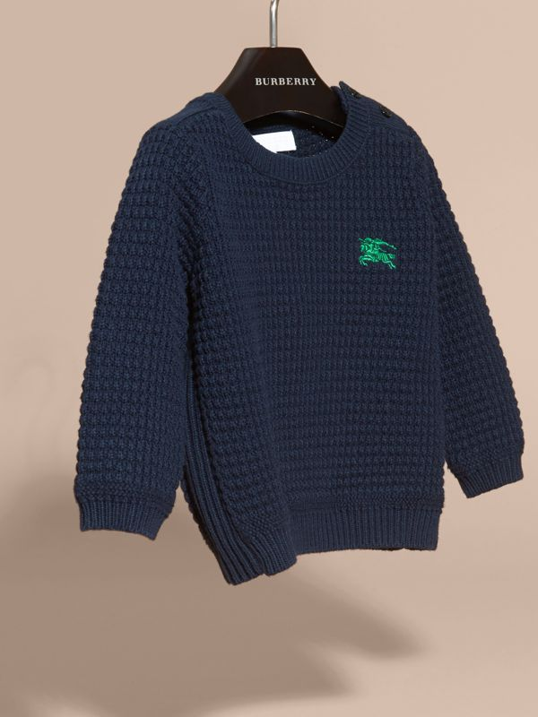 Waffle Knit Cotton Sweater in Navy | Burberry - cell image 2