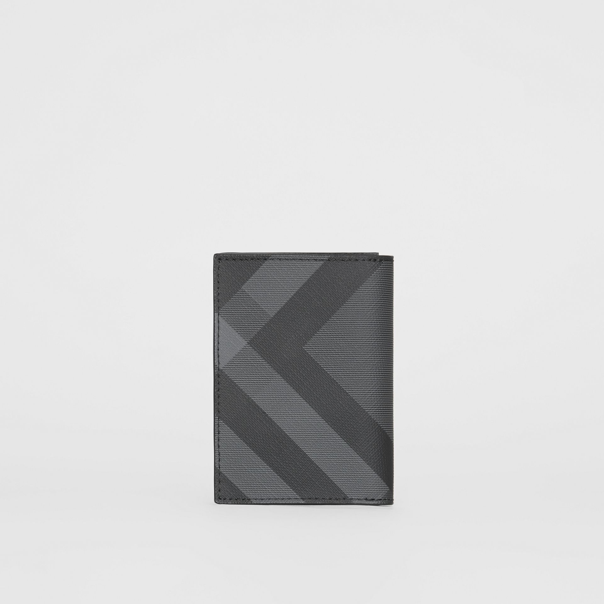 London Check and Leather Folding Card Case in Charcoal/black - Men | Burberry - gallery image 4